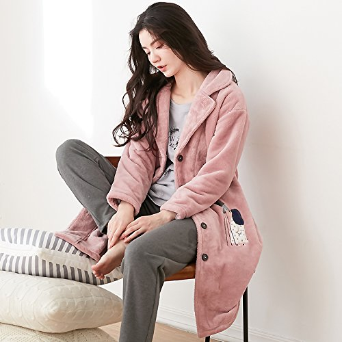 MH-RITA Coral Fleece Cardigan Revers Kleid Sexy warmen Bademantel Schlafanzug Dicke verlängern, 170 (XL)