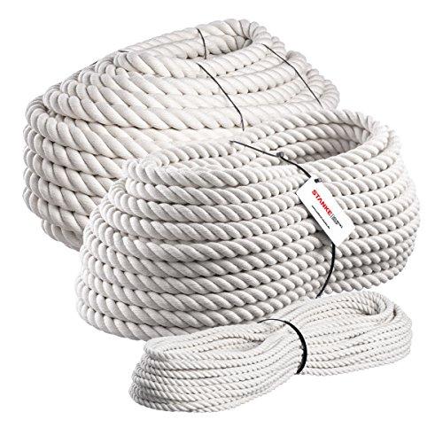 Seilwerk STANKE 5m BAUMWOLLSEIL 10mm Naturfasern handgedreht Tauwerk