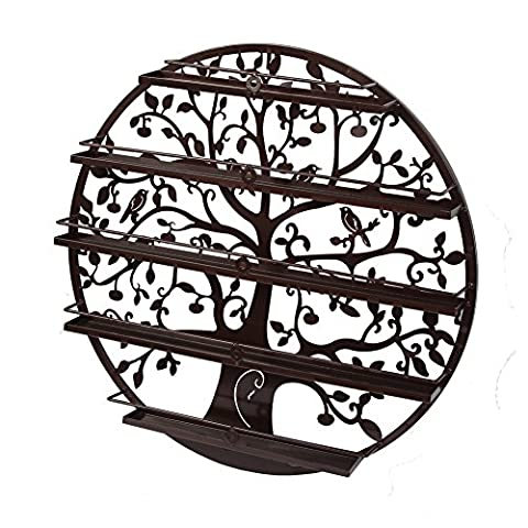 Yuda Ornate Birds&Tree Design Round Metal Wall Mountable 5 Tier Nail Polish Rack Holder/Organiser Art (Porte 5 Shelf)