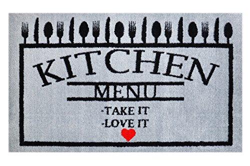 LifeStyle-Mat 100574 Menue mit Liebe, rutschfeste und waschbare Fußmatte, ideal für den Eingang, die Garderobe oder Küche, 67 x 110 cm, schwarz / grau
