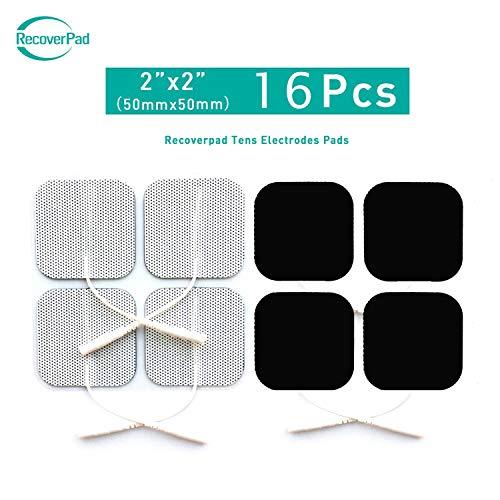 RecoverPad 16pcs 50x50mm TENS Elettrodi Professionale,3rd Gel giapponese Senza latex(CE/FDA Approvato),Prestazioni autoadesive aggiornate,Per elettrostimolatori TENS EMS
