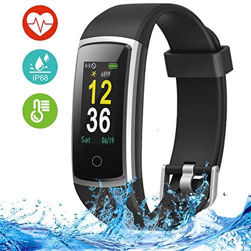 Fitness Armband mit Pulsmesser, Blutdruckmessung, Fitness Tracker, Smart Watch, Fitness Uhr IP68 Wasserdichte, Schrittzähler Uhr, Aktivitätstracker mit Anruf- und SMS-Benachrichtigung für Damen Herren