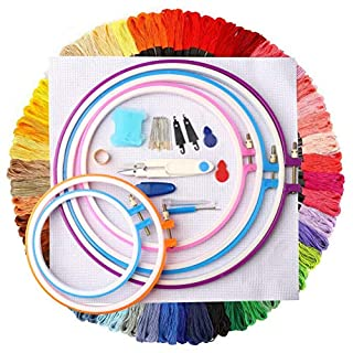 pengxiaomei Cross Stitch Tool Kit,Embroidery Threads Colour Floss Including 5 Pieces Plastic Hoops, 50 Color Threads and Needles Set Suitable for beginners