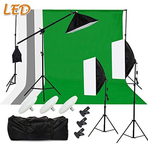 SBARTAR - Fotostudio Set Komplett Foto Hintergrundsystem Studiosets LED Studioleuchte - 4 Stoffe + 2 * 3m Hintergrundsystem + 3X 50 * 70cm Softbox Set +Galgenstativ + 2 Tasche