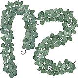 Winlyn 2 Stück Eukalyptus Pflanze Künstliche Leaf Greenery Kunstpflanze Urlaub Hochzeit Efeu-Girlanden Home Dekoration Zubehör