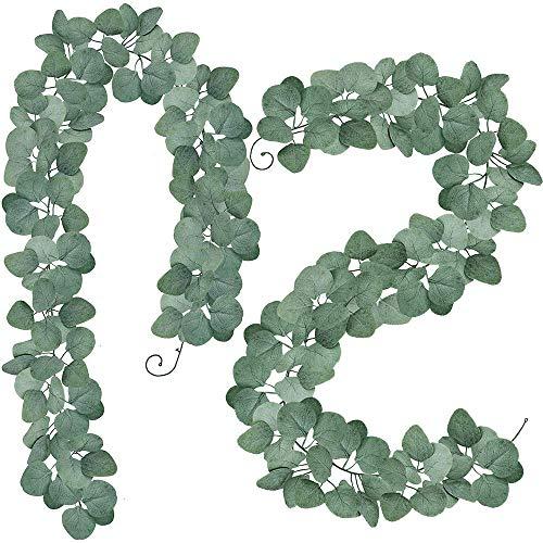 Winlyn 2 Stück Eukalyptus Pflanze Künstliche Leaf Greenery Kunstpflanze Urlaub Hochzeit Efeu-Girlanden Home Dekoration Zubehör -