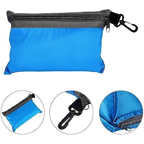 Newcomdigi Impermeabile Outdoor Sacco a Pelo di Seta per Campeggio Escursione Viaggio Comodo, Resistente e Ultraleggero 210*70cm Azzurro Grigio Arancione