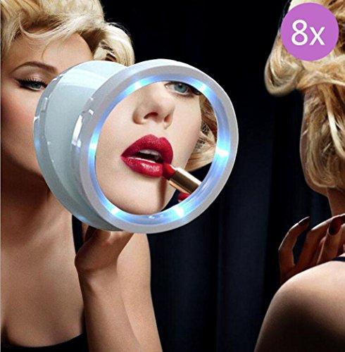 Make upspiegel Vergrößerungs glänzender kosmetischer Spiegel 8X LED Beleuchtet mit Saugnapf Basis, Rotation 360, weiß , 8x (Tippen Led-licht)