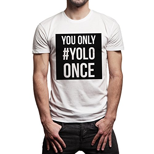 YOLO Swag Black And White You Only YOLO Once Background Herren T-Shirt Weiß