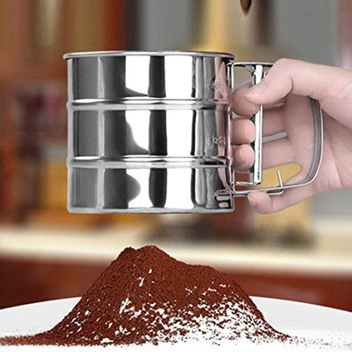 HCFKJ Edelstahl Sieb Tasse Pulver Mehl Sieb Mesh Messer Backenwerkzeuge Pastry Werkzeuge