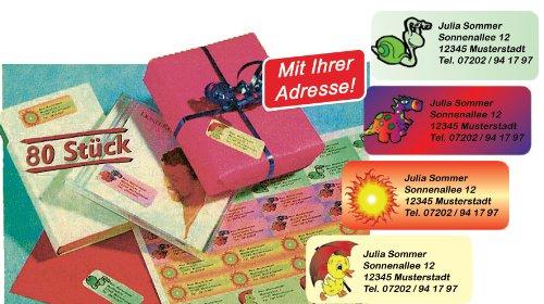 Color Motiv-Etiketten mit Ihrem Wunschtext, 80 Stück, ca. 56 x 23 mm, für bis zu 5 Zeilen Text, 4 verschiedene Motive