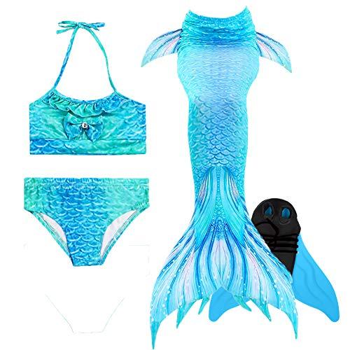 Fünf Jahres Kostüm Alt - Xyfushi Mädchen Meerjungfrauenschwanz Bikini Set Zum Schwimmen mit Meerjungfrau Flosse Badeanzüge Prinzessin Cosplay Kostüm (Hellblau, 120 (5-6 Jahre alt))