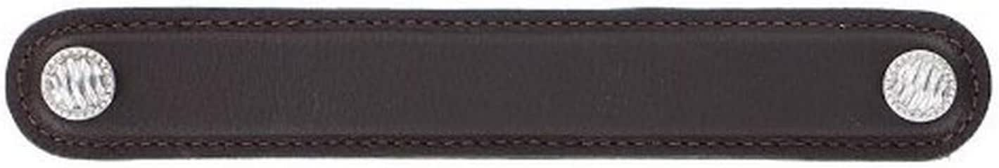 Polished Silver Brown 6-Inch Vicenza Designs K1170 Sanzio Lines and Dots Leather Pull