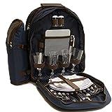 La Roca 4 Person Navy Deluxe Picnic Rucksack, Picnic Backpack, Picnic