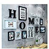 [LOVES] pcs Schwarz Bilderrahmen Set Massivholz 9 Box Kombination Wohnzimmer Bilderrahmen Wand Kreative Restaurant Hintergrund Wand Dekoration Einfache und Entworfen Stil 163 * 86 cm ( Farbe : B )