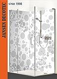 Eck - Duschrückwand, 2 Segmente, je 90x200cm, Motiv: Fresh Bubbles grau/weiß. KOSTENLOSER ZUSCHNITT!