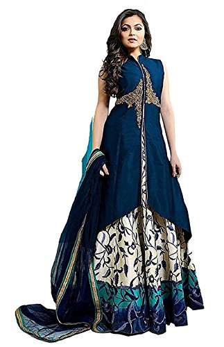 QueenGOWN for Women Indo-Western Party Wedding Wear Floor Length Gown/Anarkali Suit/New Arrival Fancy Anarkali FAUX GEORGETTE Salwar Suit With Duppata (SEMI-STICHED)  available at amazon for Rs.699