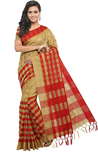 EthnicJunction Women's Cotton Silk Saree With Blouse (Chiku And Red)