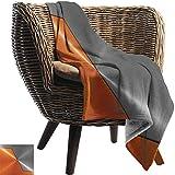 manta de verano (80X130cm) Naranja y gris, Estructura de maquinaria de estilo 3D Imagen detallada Colores de contraste modernos vivos Mantas de franela gris naranja para cama (Ligero súper suave)