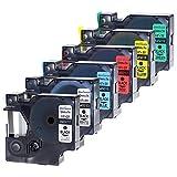6x DYMO D1 45010 45013 45016 45017 45018 45019 12mm x 7m Etikettenband Kompatibel mit DYMO LabelManager 160 280 120P 250