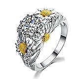 Trois Daisy Flower Ring Cz Cadeau De Bijoux Pour Les Femmes Taille 9