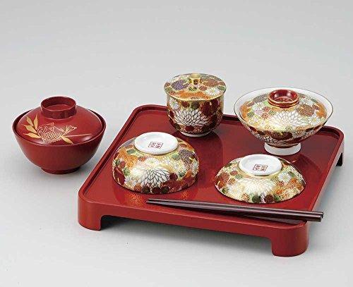 Kutani Keramik Blume Muster entwöhnen Zeremonie Schüssel-Set für Kinder aus Japan K4–385