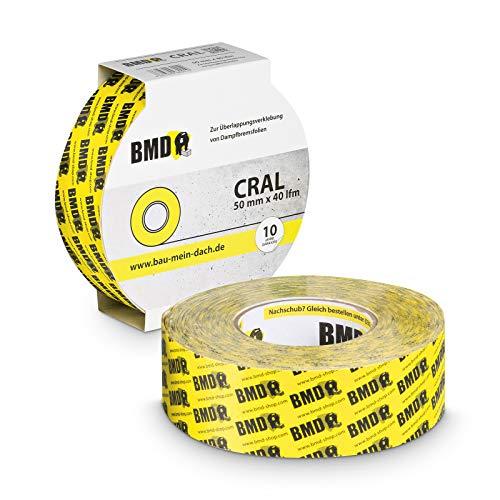 2x BMD - cral Hochleistungsklebeband (Gelb - 50mm x 40lfm) zur Verklebung von Dampfsperrfolie Dampfbremsfolie nach DIN Norm 4108 Teil 7 OSB Klebeband