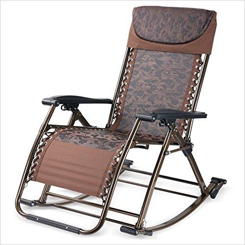 XIAOYAN Faltbarer Wagen-Aufenthaltsraum-Stuhl-Garten-Sonnenliege, beweglicher Patio-Recliner-Rasen-Stuhl mit justierbarem Kissen für das Kampieren/Patio/Strand (Farbe : Brown) (Brown-patio-stuhl-kissen)