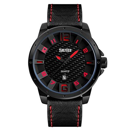 longqi Wasserdicht Quarz-Uhrwerk Herren Uhren mit Lederband für Stecker Business ursächliche Armbanduhr rot