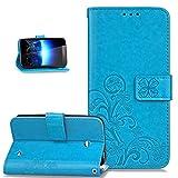 Nokia Lumia 635 Hülle,Nokia Lumia 630 Hülle,ikasus Prägung Klee Blumen Muster PU Lederhülle Flip Hülle Cover Schale Ständer Wallet Case Schutzhülle für Nokia Lumia 630/635,Klee Blumen:Blau