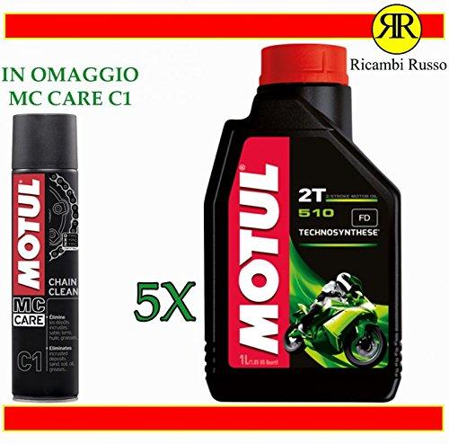 Motul 510 2T olio motore moto 2 tempi litri 5 + OMAGGIO MC Care C1 Ch