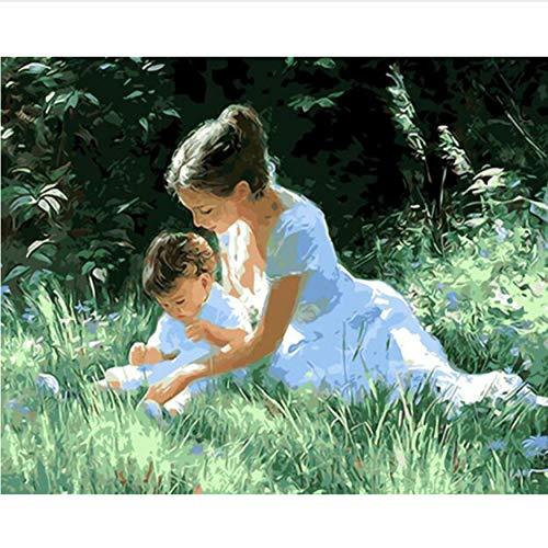 zykcmy Keine Gerahmte Mutter Liebe DIY Malen Nach Zahlen Wandkunst Bild Einzigartiges Geschenk Nach Hause Dekorative Handgemalte Acryl-Malerei, 40X50 -