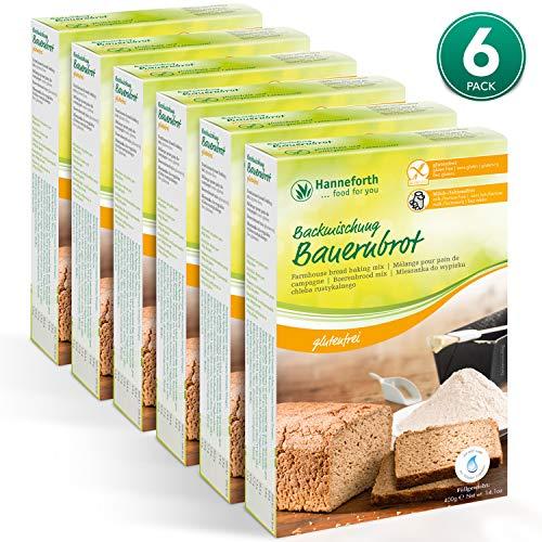 Hanneforth Glutenfreie Brotbackmischung - 3x500gr Saaten-Bauernbrot Backmischung - Milch- und Laktosefreie Brotmischung - Ohne künstliche Zusätze - Perfekt bei Zöliakie und Laktoseintoleranz