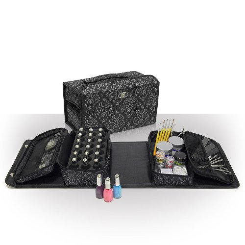 Roo Beauty Nail Polish Varnish Case, Double-It Manicure Storage Bag, Makeup Cosmetic Holder in Imperial Black by Roo Beauty