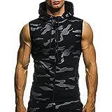 VEMOW Herren Sommer Casual Camouflage Print mit Kapuze ärmellose T-Shirt Top Weste Bluse(Schwarz, EU-52/CN-M)