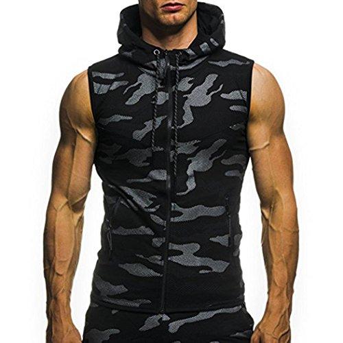 VEMOW Vatertag Geschenk Herren Sommer Casual Camouflage Print mit Kapuze ärmellose T-Shirt Top Weste Bluse(Schwarz, EU-54/CN-L) (Camouflage-weste Hund)