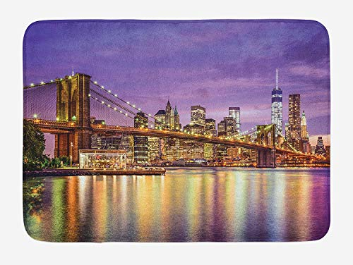 OQUYCZ New York Bath Mat, NYC Exquisite Skyline Manhattan Broadway Old Neighborhood Tourist Country Print, Plush Bathroom Decor Mat with Non Slip Backing, 23.6 W X 15.7 W Inches, Purple Gold
