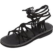 0134975008f64 Solike Sandale Femme Été Sandale Plate Femmes Chaussure de Loisir Sandales  Ouverte Clip Bout Casual Lacets