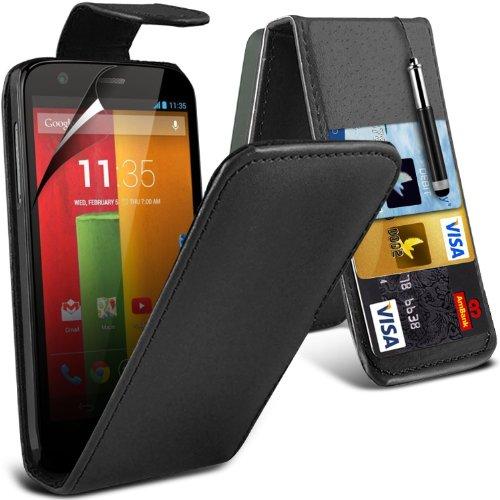 ( Green ) Motorola Moto G & Moto 4G LTE Hülle Abdeckung Cover Case schutzhülle Tasche Perfect Fit PU Leder Flip Mit 2 Kredit- / Debitkartensteckplatz-Fall-Haut-Abdeckung mit LCD-Display Schutzfolie, R Flip + Pen (Black)