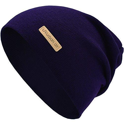 urban air Street Classics   Slouch Beanie, Mütze, mit Lederpatch   Damen, Herren   für das ganze Jahr, weicher Stoff   in blau/purple