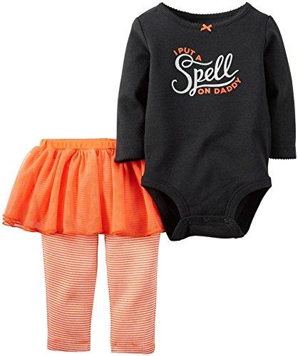 g Outfit Mädchen 2-teilig Halloween Body & Tutu Hose Set schwarz, schwarz ()
