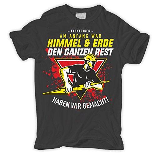 Männer und Herren T-Shirt Elektriker - Am Anfang war Himmel & Erde Aschgrau