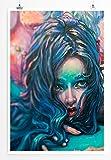 Eau Zone Bilder - Bild einer Frau mit blauen Haaren- Leinwand Kunstdrucke Wandbilder aus Deutschland