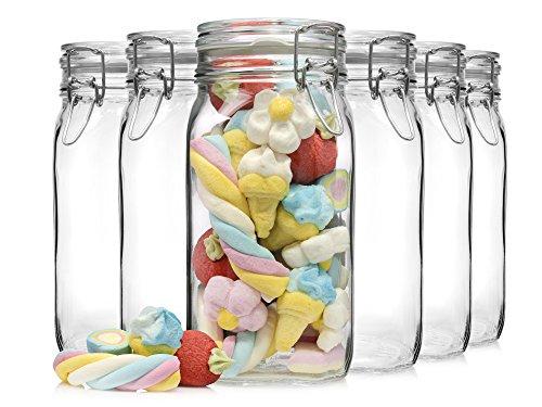 Glas (Bormioli Fido Gläser mit Bügelverschluss 6 teilig | Füllmenge 1,5 L | Luftdichte Konservierung durch den Gummiring sowie den Drahtbügelverschluss)