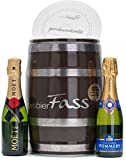 probierFass Champagner Geschenk | 2 Champagner Klassiker (2 x 0.2 l) verpackt in einem originellen Fass mit Geschenkverpackung | Moët & Chandon - Pommery | Das perfekte Champagner Geschenkset