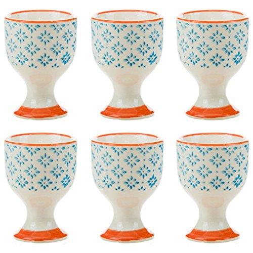 Nicola printemps porcelaine Petit déjeuner coquetiers en Bleu Motif / Orange Imprimer - Lot de 6