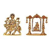ART N HUB Combo 2 Statue God Ma Durga & Krishna Idol Puja Mandir/Home Temple & Car Dash Board Showpiece Statue Gift Item