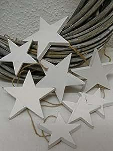 deko holz girlande sterne wei gewischt weihnachten 200 cm. Black Bedroom Furniture Sets. Home Design Ideas