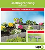 UPP Beetbegrenzung Steinoptik 2,5m Rasenkante/Rasen Begrenzung/Rasenbegrenzung/Rasenkante/Blumenabgrenzung/Schneidkante/Mähkante