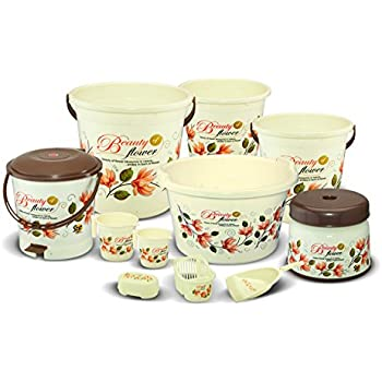 Meded Plastic Bucket, Tub & Mug Bathroom Set 11 pcs, Heavy Duty, Large Capacity - Ivory Brown